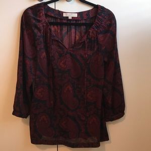 Sheer red/navy paisley Loft blouse size M